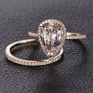 Jewelry - 🆕Teardrop/Pear Morganite 18K Rose Gold Ring Set